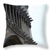 Notre Dame Gargoyle Row - Dijon Throw Pillow