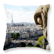 Notre Dame View From The Roof Throw Pillow