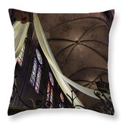 Notre Dame With Cream Swag Throw Pillow