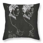 Novelty Wig Patent Artwork Gray Throw Pillow