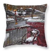 First Snowfall Nov 17 2014 Throw Pillow