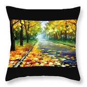November Alley - Palette Knife Landscape Autumn Alley Oil Painting On Canvas By Leonid Afremov - Siz Throw Pillow