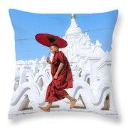 Novice Monk Jumping On White Pagoda - Mandalay - Burma Throw Pillow