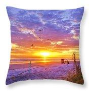 Nsb Lifeguard Station Sunrise Throw Pillow