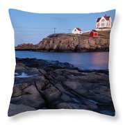 Nubble Light Along Maine's Rugged Coast York Beach Maine Throw Pillow