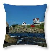 Nubble Light House York Beach Maine Throw Pillow