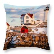 Nubble Light York Maine Throw Pillow
