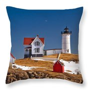 Nubble Lighthouse 3 Throw Pillow