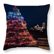 Nubble Lighthouse And Lobster Pot Tree Throw Pillow