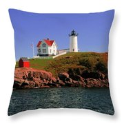 Nubble Lighthouse-cape Neddick Throw Pillow