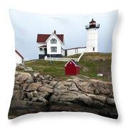 Nubble Lighthouse Cape Neddick Maine 4 Throw Pillow