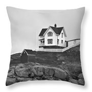 Nubble Lighthouse Cape Neddick Maine Black And White Throw Pillow