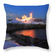 Nubble Lighthouse Holiday Lights And Winter Moon Throw Pillow by John Burk