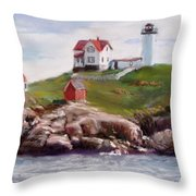 Nubble Lighthouse In Pastel Throw Pillow
