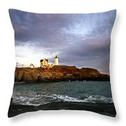 Nubble Lighthouse Throw Pillow by Skip Willits