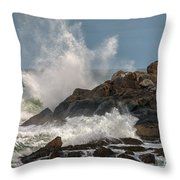 Nubble Lighthouse Waves 1 Throw Pillow by Scott Thorp