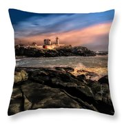 Nubble Lighthouse Winter Solstice Sunset Throw Pillow
