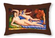 Nude Art Painting Throw Pillow
