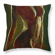 Nude In The Green Throw Pillow