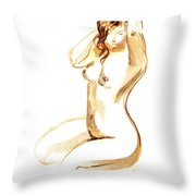 Nude Model Gesture I Throw Pillow
