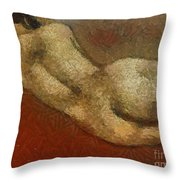 Nude On A Red Throw Pillow