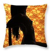 Nude On Chair Color Throw Pillow