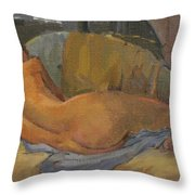 Nude On Chaise Longue Throw Pillow