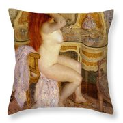 Nude Seated At Her Dressing Table Throw Pillow