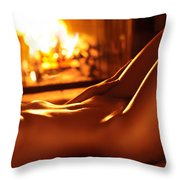 Nude Shiny Woman Body In Front Of Fireplace Throw Pillow