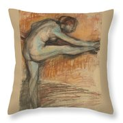 Nude Study For A Dancer At The Bar Throw Pillow