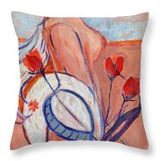 Nude With A White Hat Throw Pillow