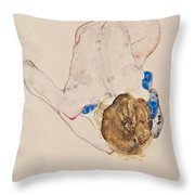 Nude With Blue Stockings Bending Forward Throw Pillow