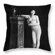 Nude With Grapes, C1850 Throw Pillow