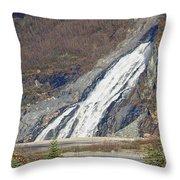 Nugget Falls In Juneau Alaska During Late Fall Throw Pillow