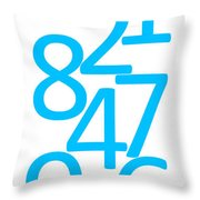 Numbers In Blue Throw Pillow