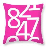 Numbers In Pink And White Throw Pillow