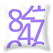Numbers In Purple Throw Pillow