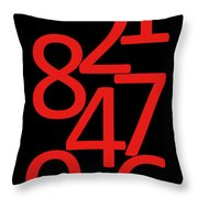 Numbers In Red And Black Throw Pillow