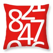 Numbers In Red And White Throw Pillow