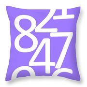 Numbers In White And Purple Throw Pillow