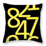 Numbers In Yellow And Black Throw Pillow