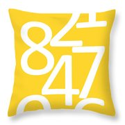 Numbers In Yellow And White Throw Pillow
