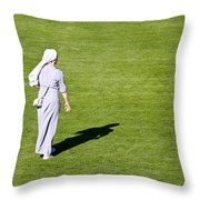 Nun On Green Soccer Field Throw Pillow by Brch Photography
