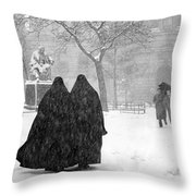 Nuns In Snow New York City 1946 Throw Pillow