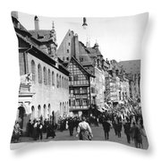 Nuremberg Street Scene Throw Pillow