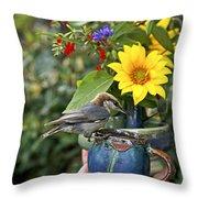 Nuthatch Bird Having Tea Throw Pillow