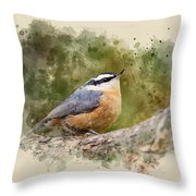 Nuthatch Watercolor Art Throw Pillow