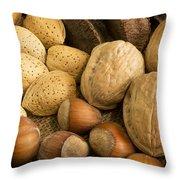 Nuts On Burlap Throw Pillow