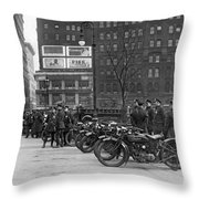 Ny Motorcycle Police Throw Pillow