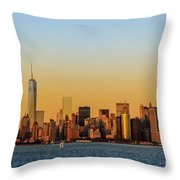 Ny Skyline At Sunset Throw Pillow